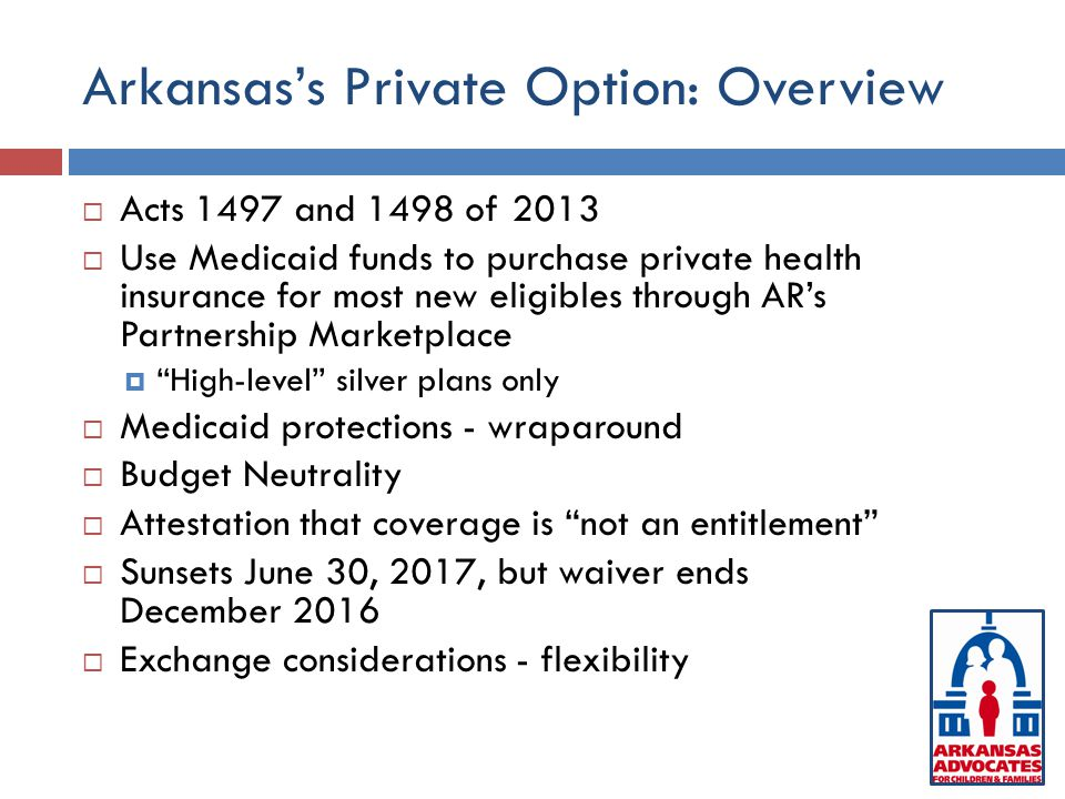 Arkansas's Private Option: Overview  Acts 1497 and 1498 of 2013  Use Medicaid funds to purchase private health insurance for most new eligibles through AR's Partnership Marketplace  High-level silver plans only  Medicaid protections - wraparound  Budget Neutrality  Attestation that coverage is not an entitlement  Sunsets June 30, 2017, but waiver ends December 2016  Exchange considerations - flexibility
