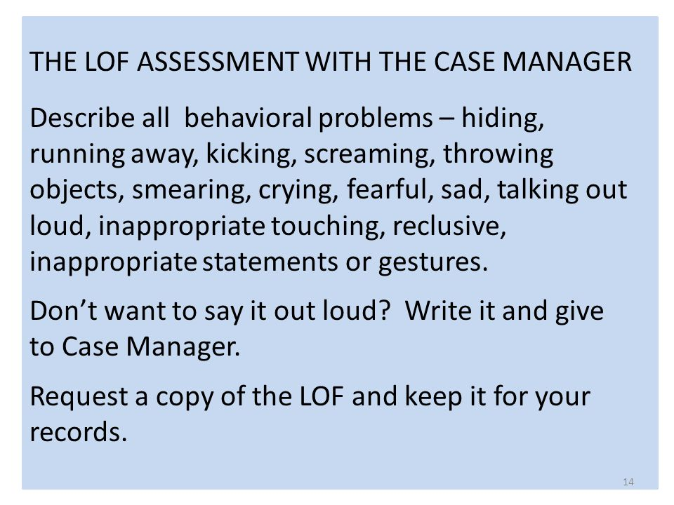 THE LOF ASSESSMENT WITH THE CASE MANAGER Describe all behavioral problems – hiding, running away, kicking, screaming, throwing objects, smearing, crying, fearful, sad, talking out loud, inappropriate touching, reclusive, inappropriate statements or gestures.