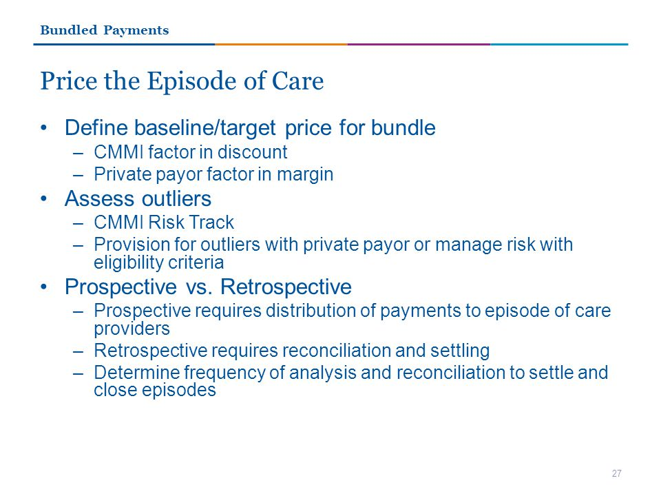 Price the Episode of Care Define baseline/target price for bundle –CMMI factor in discount –Private payor factor in margin Assess outliers –CMMI Risk Track –Provision for outliers with private payor or manage risk with eligibility criteria Prospective vs.