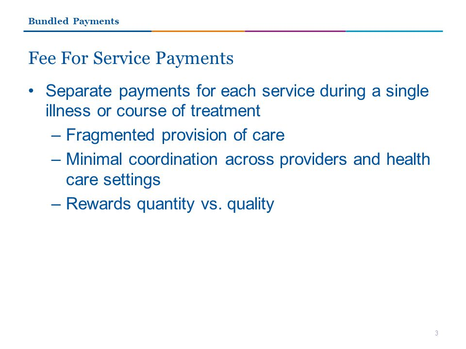 Fee For Service Payments Separate payments for each service during a single illness or course of treatment –Fragmented provision of care –Minimal coordination across providers and health care settings –Rewards quantity vs.