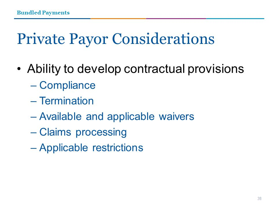 Private Payor Considerations Ability to develop contractual provisions –Compliance –Termination –Available and applicable waivers –Claims processing –Applicable restrictions 38 Bundled Payments