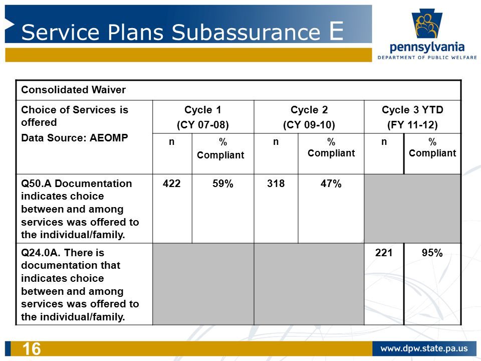16 Service Plans Subassurance E Consolidated Waiver Choice of Services is offered Data Source: AEOMP Cycle 1 (CY 07-08) Cycle 2 (CY 09-10) Cycle 3 YTD