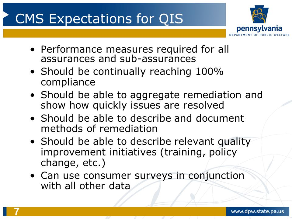 7 CMS Expectations for QIS Performance measures required for all assurances and sub-assurances Should be continually reaching 100% compliance Should b