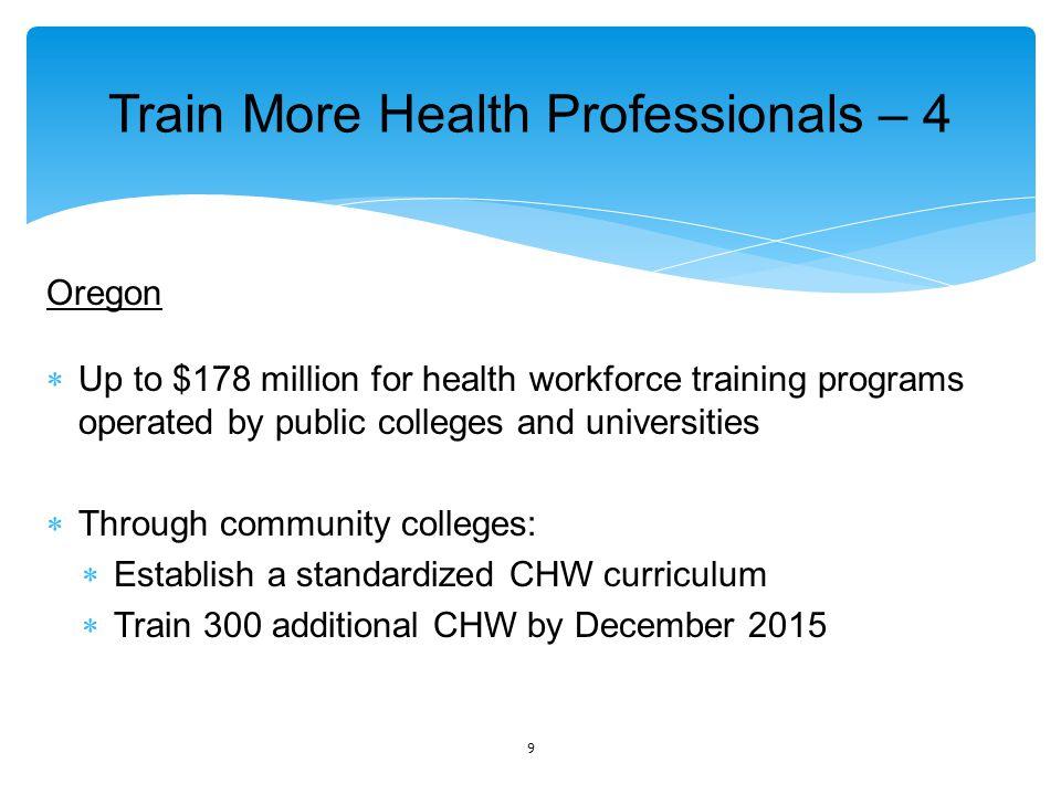 Increase Retention Oregon  $2 million/yr.