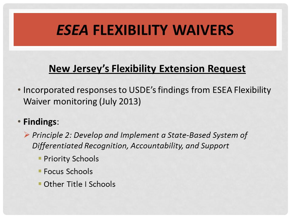ESEA FLEXIBILITY WAIVERS New Jersey's Flexibility Extension Request Incorporated responses to USDE's findings from ESEA Flexibility Waiver monitoring