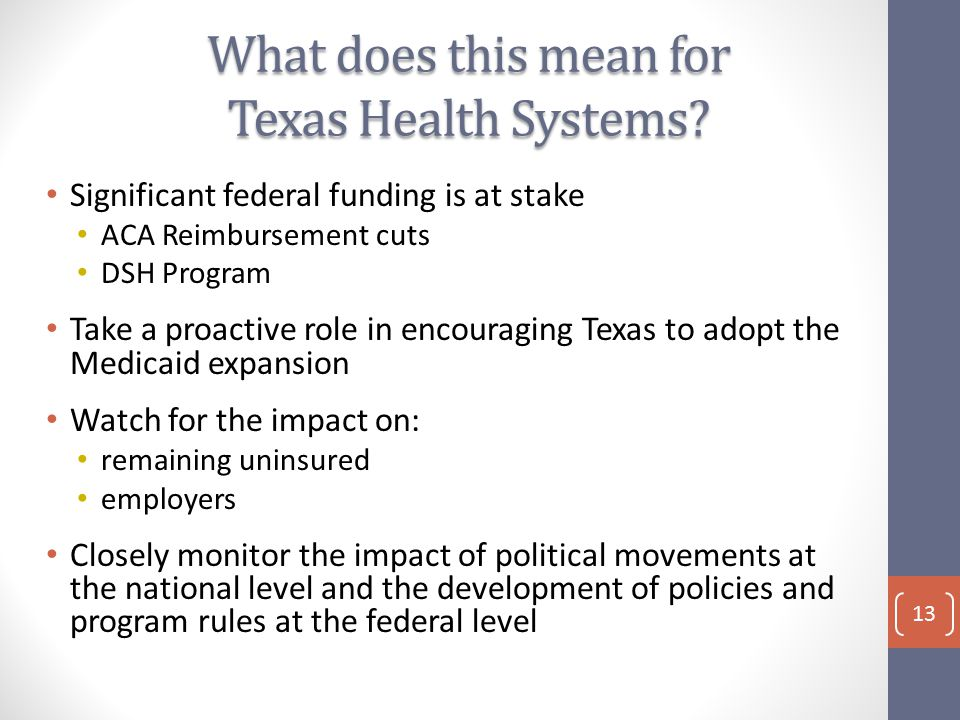 What does this mean for Texas Health Systems.