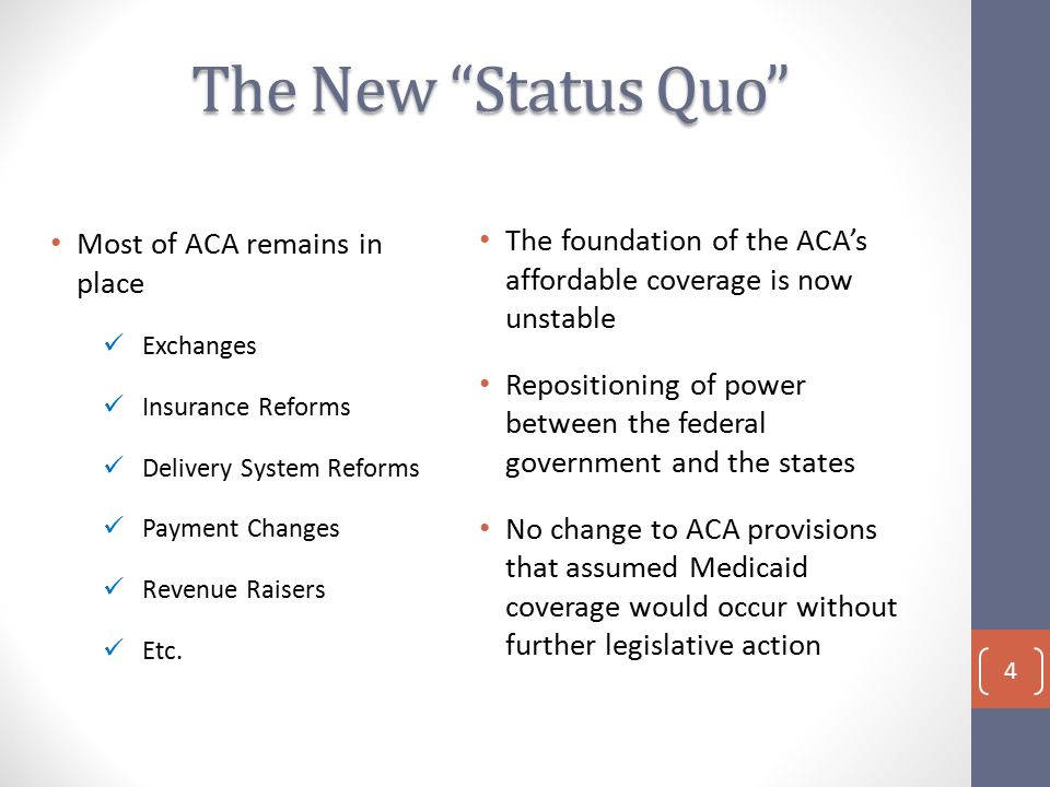 The New Status Quo Most of ACA remains in place Exchanges Insurance Reforms Delivery System Reforms Payment Changes Revenue Raisers Etc.
