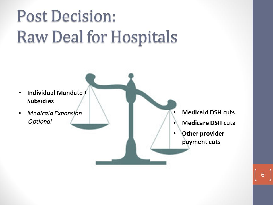 Post Decision: Raw Deal for Hospitals Individual Mandate + Subsidies Medicaid DSH cuts Medicare DSH cuts Other provider payment cuts Medicaid Expansion Optional 6