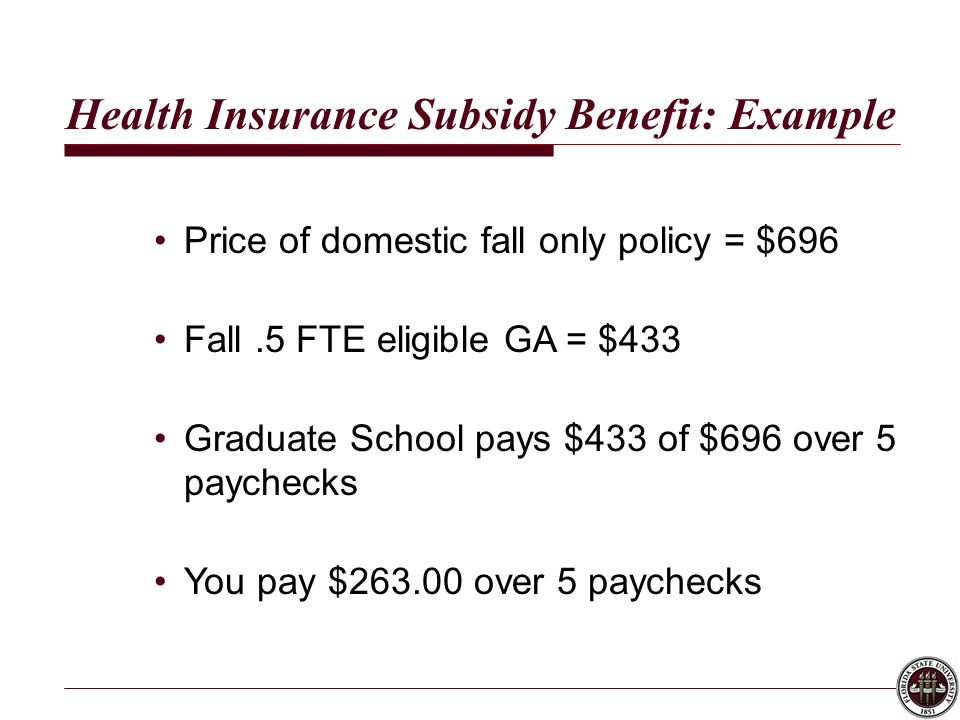 Health Insurance Subsidy Benefit: Example Price of domestic fall only policy = $696 Fall.5 FTE eligible GA = $433 Graduate School pays $433 of $696 over 5 paychecks You pay $263.00 over 5 paychecks