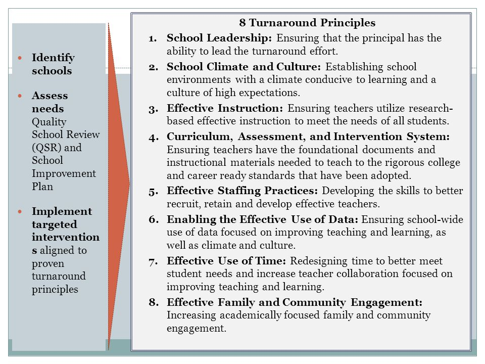 Identify schools Assess needs Quality School Review (QSR) and School Improvement Plan Implement targeted intervention s aligned to proven turnaround principles 18 8 Turnaround Principles 1.School Leadership: Ensuring that the principal has the ability to lead the turnaround effort.