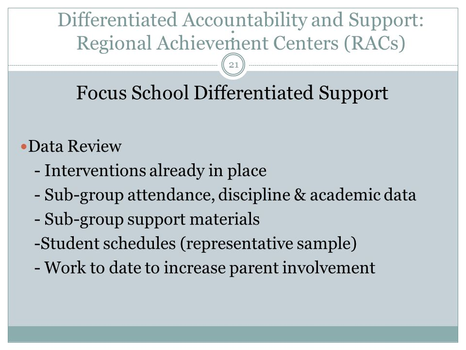: Focus School Differentiated Support Data Review - Interventions already in place - Sub-group attendance, discipline & academic data - Sub-group supp