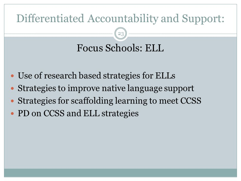 Differentiated Accountability and Support: Focus Schools: ELL Use of research based strategies for ELLs Strategies to improve native language support Strategies for scaffolding learning to meet CCSS PD on CCSS and ELL strategies 23