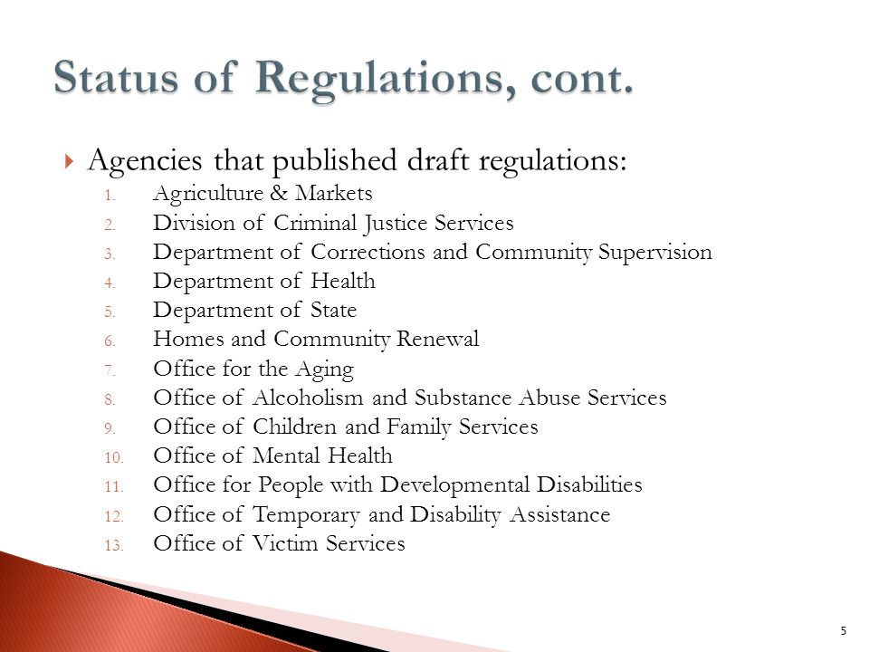  Agencies that published draft regulations: 1. Agriculture & Markets 2.