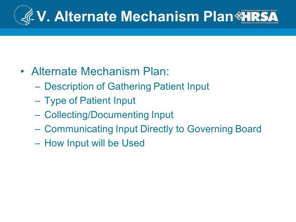 V. Alternate Mechanism Plan Alternate Mechanism Plan: –Description of Gathering Patient Input –Type of Patient Input –Collecting/Documenting Input –Co