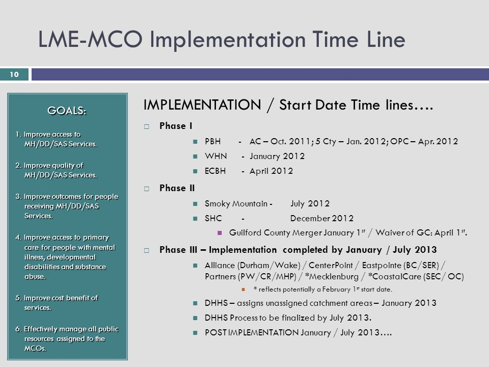 10 LME-MCO Implementation Time Line GOALS: 1. Improve access to MH/DD/SAS Services.