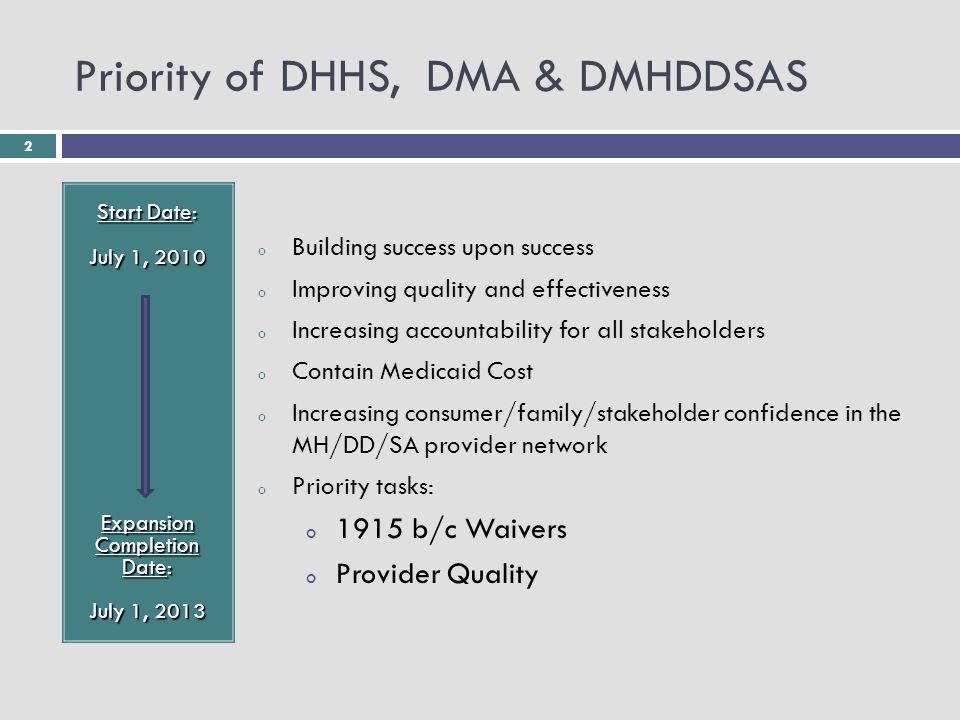 2 Priority of DHHS, DMA & DMHDDSAS Start Date: July 1, 2010 Expansion Completion Date: July 1, 2013 o Building success upon success o Improving quality and effectiveness o Increasing accountability for all stakeholders o Contain Medicaid Cost o Increasing consumer/family/stakeholder confidence in the MH/DD/SA provider network o Priority tasks: o 1915 b/c Waivers o Provider Quality