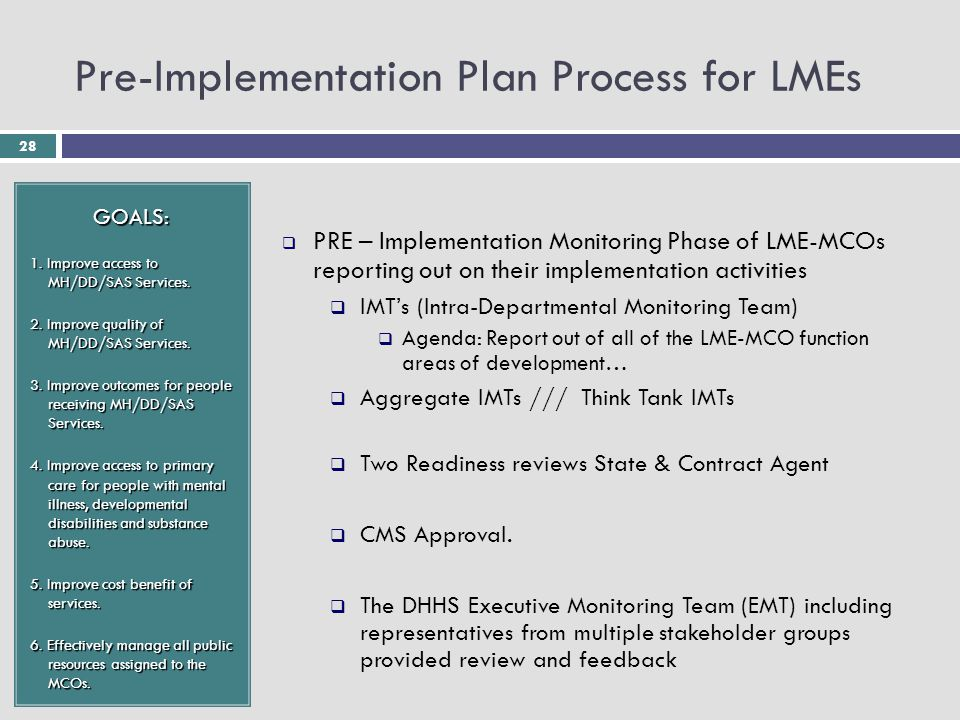 28 Pre-Implementation Plan Process for LMEs GOALS: 1. Improve access to MH/DD/SAS Services. 2. Improve quality of MH/DD/SAS Services. 3. Improve outco