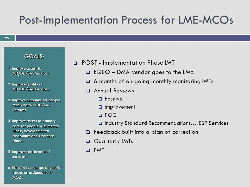 29 Post-Implementation Process for LME-MCOs GOALS: 1.