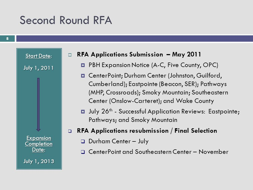8 Second Round RFA Start Date: July 1, 2011 Expansion Completion Date: July 1, 2013  RFA Applications Submission – May 2011  PBH Expansion Notice (A-C, Five County, OPC)  CenterPoint; Durham Center (Johnston, Guilford, Cumberland); Eastpointe (Beacon, SER); Pathways (MHP, Crossroads); Smoky Mountain; Southeastern Center (Onslow-Carteret); and Wake County  July 26 th - Successful Application Reviews: Eastpointe; Pathways; and Smoky Mountain  RFA Applications resubmission / Final Selection  Durham Center – July  CenterPoint and Southeastern Center – November
