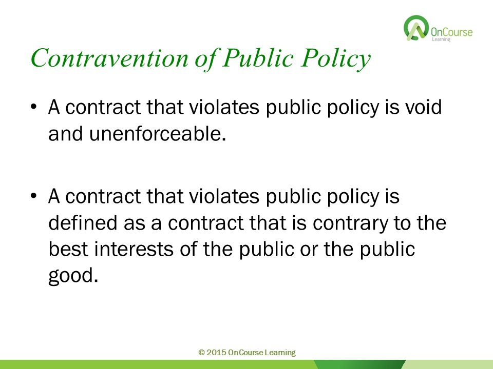 Contravention of Public Policy A contract that violates public policy is void and unenforceable.