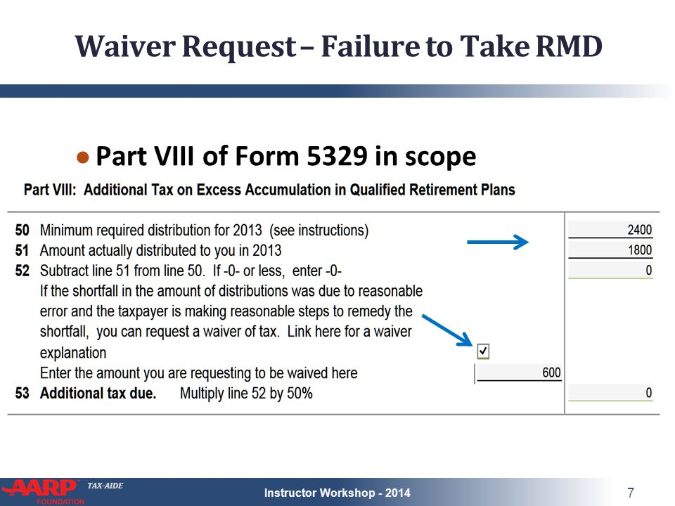 TAX-AIDE Waiver Request – Failure to Take RMD ● Part VIII of Form 5329 in scope Instructor Workshop - 2014 7