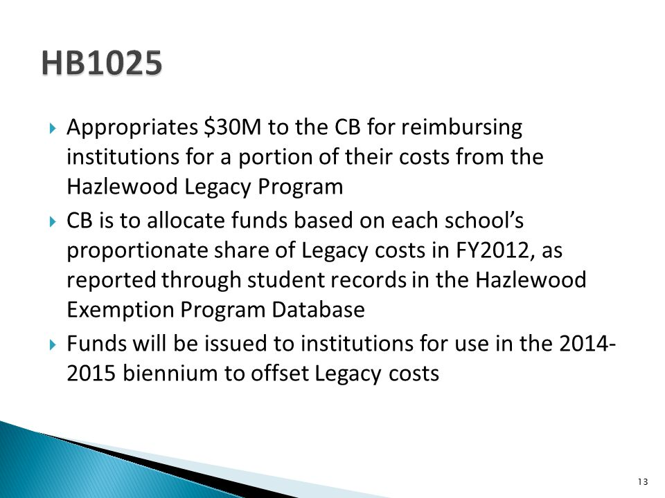  Appropriates $30M to the CB for reimbursing institutions for a portion of their costs from the Hazlewood Legacy Program  CB is to allocate funds based on each school's proportionate share of Legacy costs in FY2012, as reported through student records in the Hazlewood Exemption Program Database  Funds will be issued to institutions for use in the 2014- 2015 biennium to offset Legacy costs 13