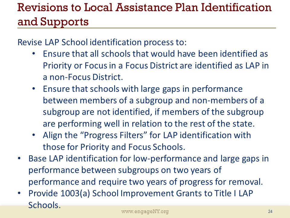 www.engageNY.org 24 Revise LAP School identification process to: Ensure that all schools that would have been identified as Priority or Focus in a Focus District are identified as LAP in a non-Focus District.