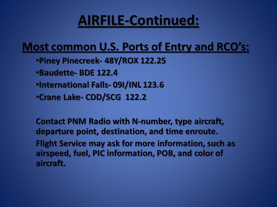 AIRFILE-Continued: Most common U.S.