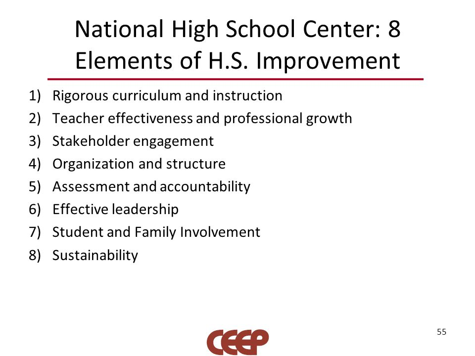 National High School Center: 8 Elements of H.S.