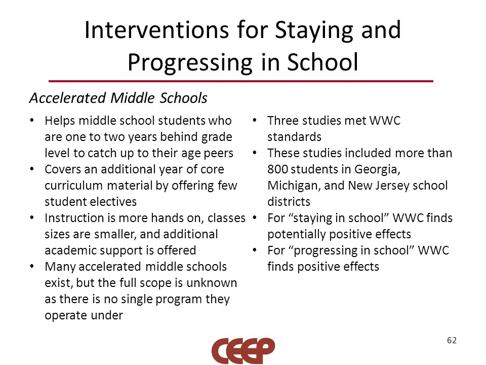 Interventions for Staying and Progressing in School Accelerated Middle Schools 62 Helps middle school students who are one to two years behind grade level to catch up to their age peers Covers an additional year of core curriculum material by offering few student electives Instruction is more hands on, classes sizes are smaller, and additional academic support is offered Many accelerated middle schools exist, but the full scope is unknown as there is no single program they operate under Three studies met WWC standards These studies included more than 800 students in Georgia, Michigan, and New Jersey school districts For staying in school WWC finds potentially positive effects For progressing in school WWC finds positive effects