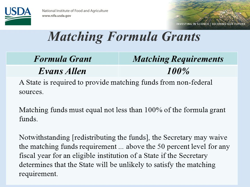 Matching Formula Grants Formula GrantMatching Requirements Evans Allen100% A State is required to provide matching funds from non-federal sources.