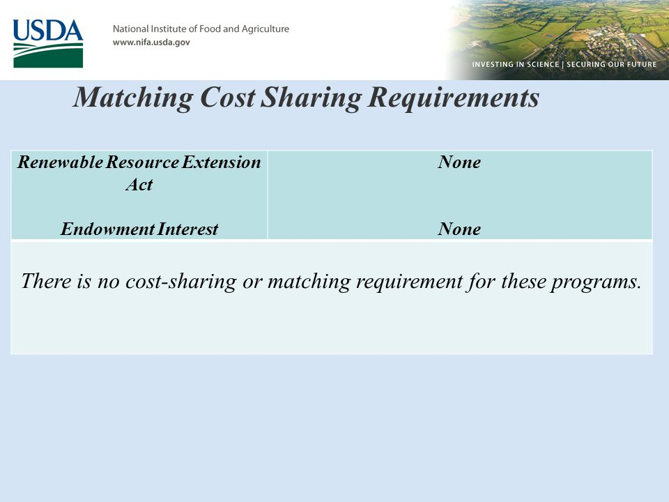 Matching Cost Sharing Requirements Renewable Resource Extension Act Endowment Interest None There is no cost-sharing or matching requirement for these programs.