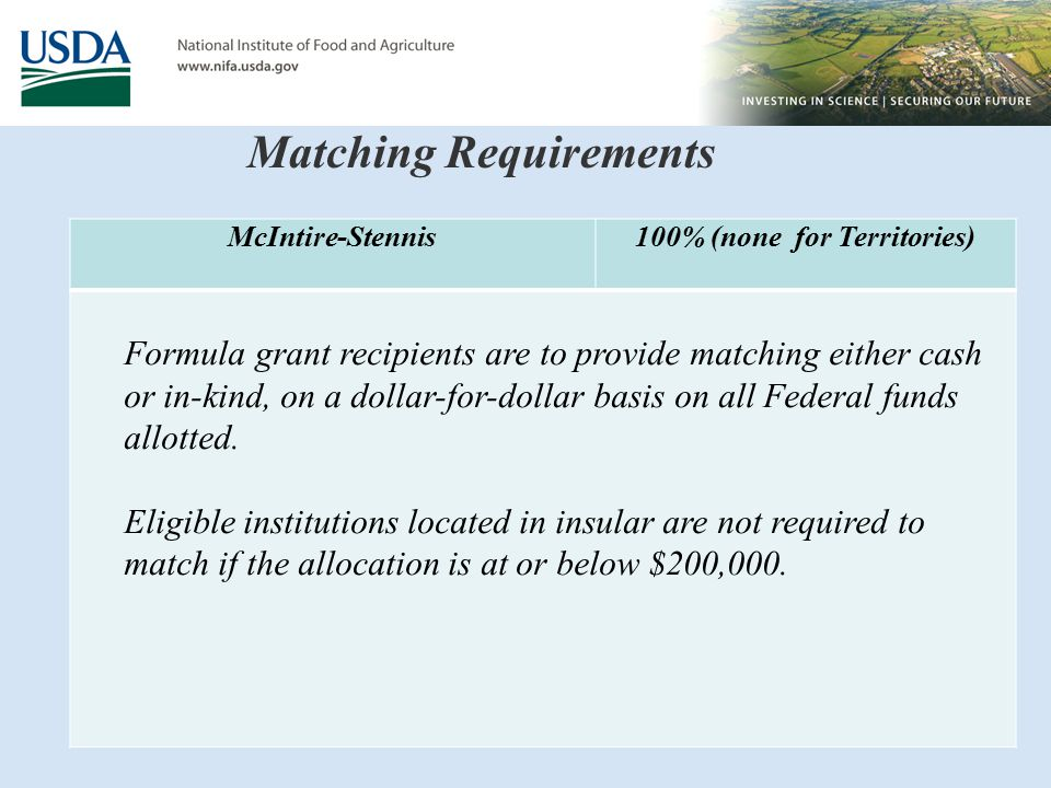 Matching Requirements McIntire-Stennis100% (none for Territories) Formula grant recipients are to provide matching either cash or in-kind, on a dollar-for-dollar basis on all Federal funds allotted.
