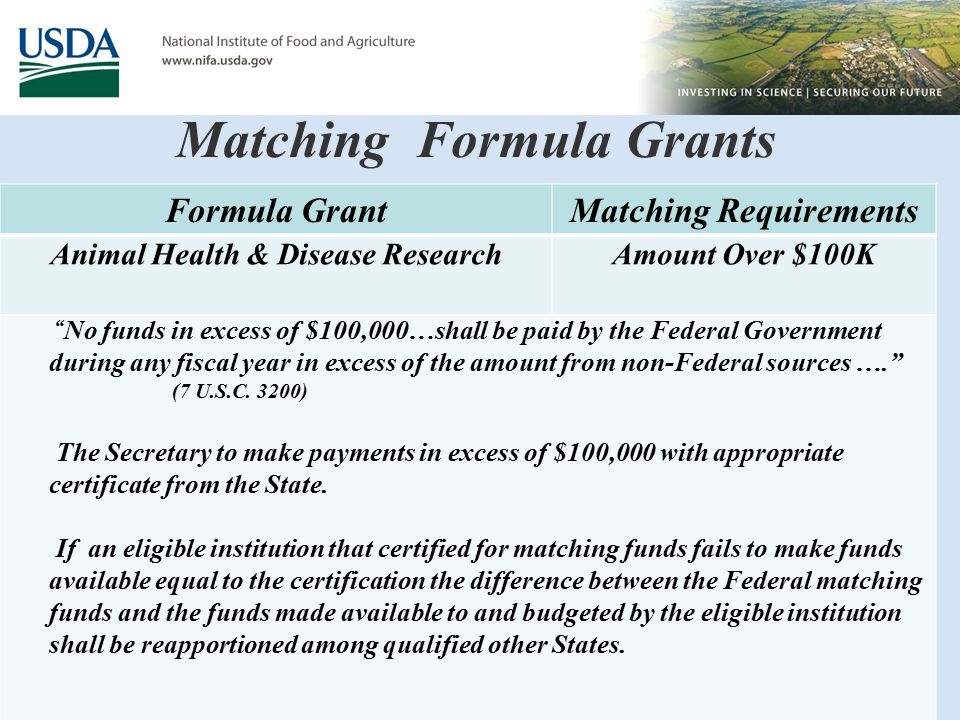 Matching Formula Grants Formula GrantMatching Requirements Animal Health & Disease ResearchAmount Over $100K No funds in excess of $100,000…shall be paid by the Federal Government during any fiscal year in excess of the amount from non-Federal sources …. (7 U.S.C.