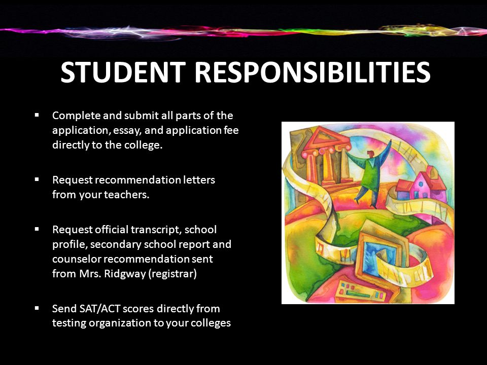 STUDENT RESPONSIBILITIES  Complete and submit all parts of the application, essay, and application fee directly to the college.