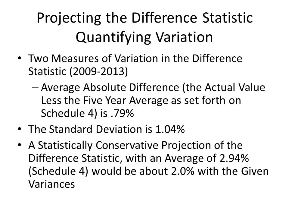 Projecting the Difference Statistic Quantifying Variation Two Measures of Variation in the Difference Statistic (2009-2013) – Average Absolute Difference (the Actual Value Less the Five Year Average as set forth on Schedule 4) is.79% The Standard Deviation is 1.04% A Statistically Conservative Projection of the Difference Statistic, with an Average of 2.94% (Schedule 4) would be about 2.0% with the Given Variances