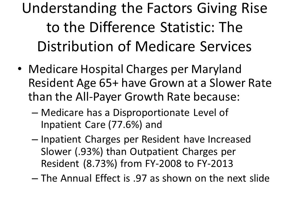 Understanding the Factors Giving Rise to the Difference Statistic: The Distribution of Medicare Services Medicare Hospital Charges per Maryland Resident Age 65+ have Grown at a Slower Rate than the All-Payer Growth Rate because: – Medicare has a Disproportionate Level of Inpatient Care (77.6%) and – Inpatient Charges per Resident have Increased Slower (.93%) than Outpatient Charges per Resident (8.73%) from FY-2008 to FY-2013 – The Annual Effect is.97 as shown on the next slide