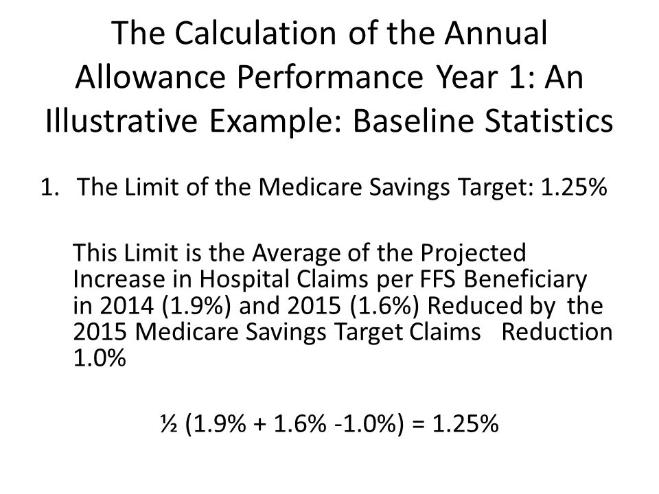 The Calculation of the Annual Allowance Performance Year 1: An Illustrative Example: Baseline Statistics 1.The Limit of the Medicare Savings Target: 1.25% This Limit is the Average of the Projected Increase in Hospital Claims per FFS Beneficiary in 2014 (1.9%) and 2015 (1.6%) Reduced by the 2015 Medicare Savings Target Claims Reduction 1.0% ½ (1.9% + 1.6% -1.0%) = 1.25%