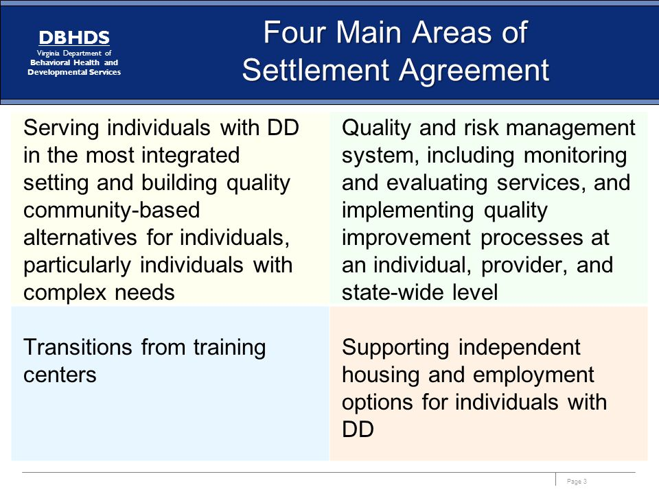 Page 3 DBHDS Virginia Department of Behavioral Health and Developmental Services Four Main Areas of Settlement Agreement Serving individuals with DD in the most integrated setting and building quality community-based alternatives for individuals, particularly individuals with complex needs Quality and risk management system, including monitoring and evaluating services, and implementing quality improvement processes at an individual, provider, and state-wide level Supporting independent housing and employment options for individuals with DD Transitions from training centers