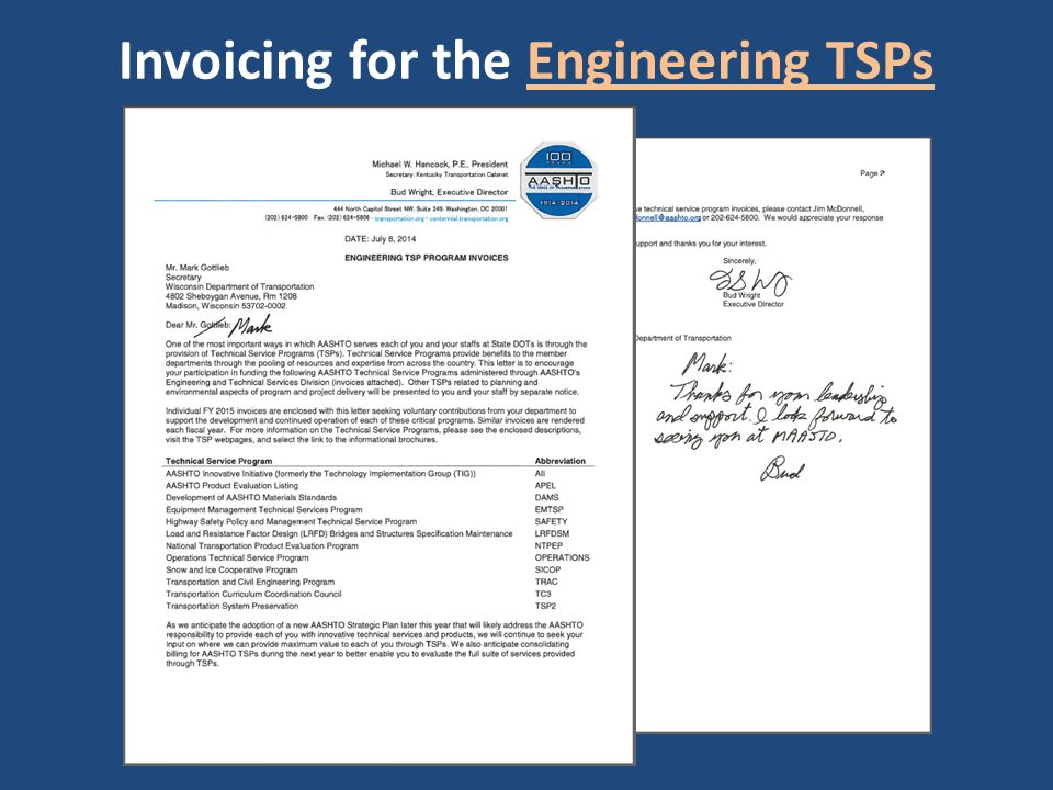 Invoicing for the Engineering TSPs