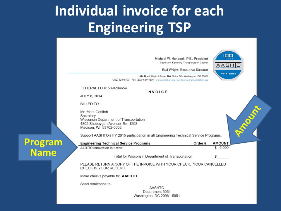 Individual invoice for each Engineering TSP Program Name Amount