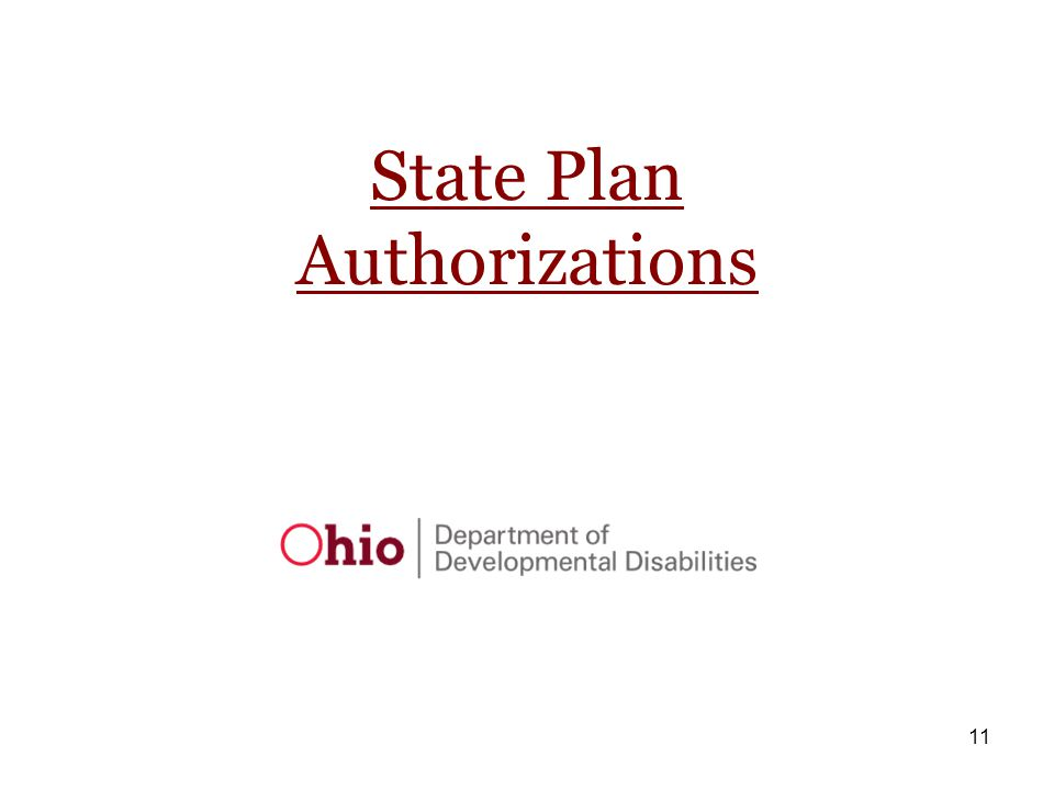 11 State Plan Authorizations