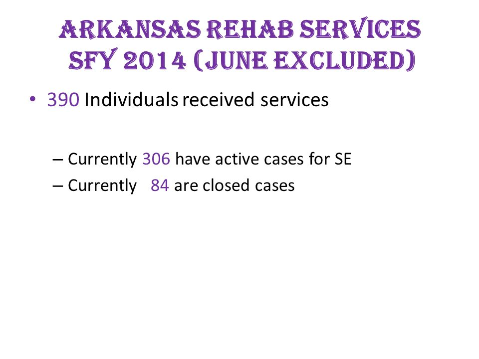 ARKANSAS REHAB SERVICES SFY 2014 (June Excluded) 390 Individuals received services – Currently 306 have active cases for SE – Currently 84 are closed cases