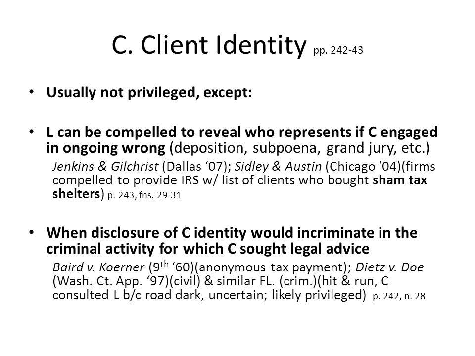 C. Client Identity pp.