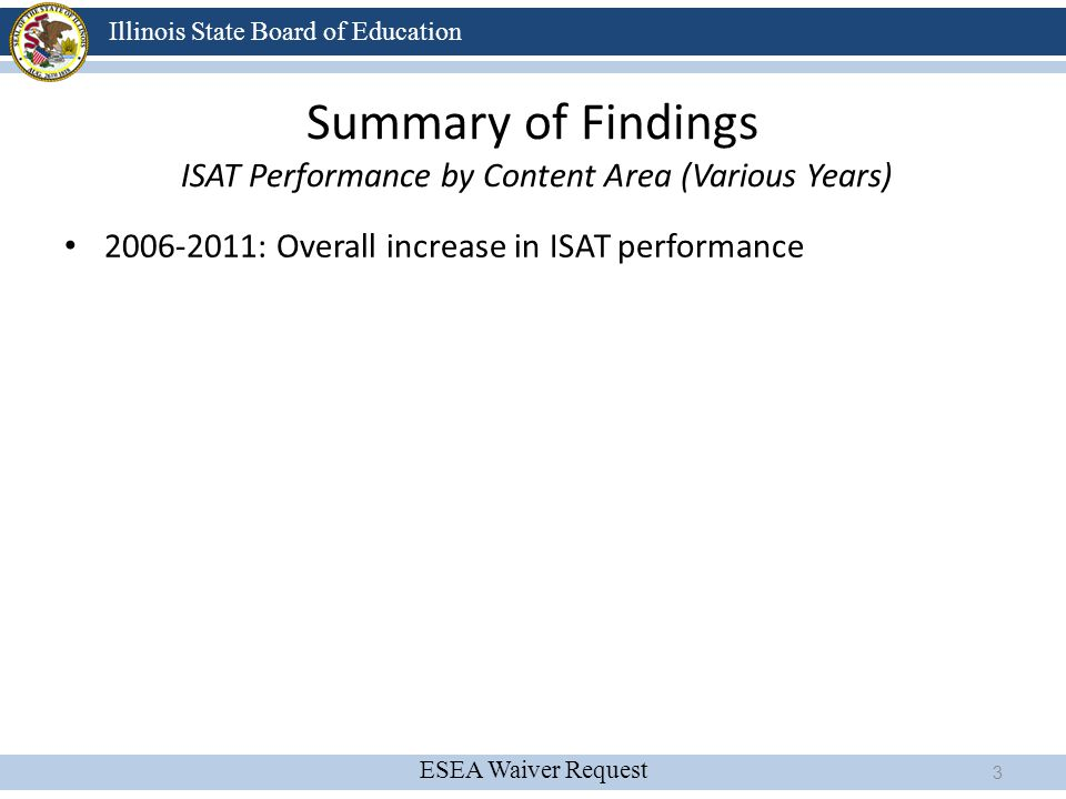 ESEA Waiver Request Illinois State Board of Education ISAT Performance By Content Area 4