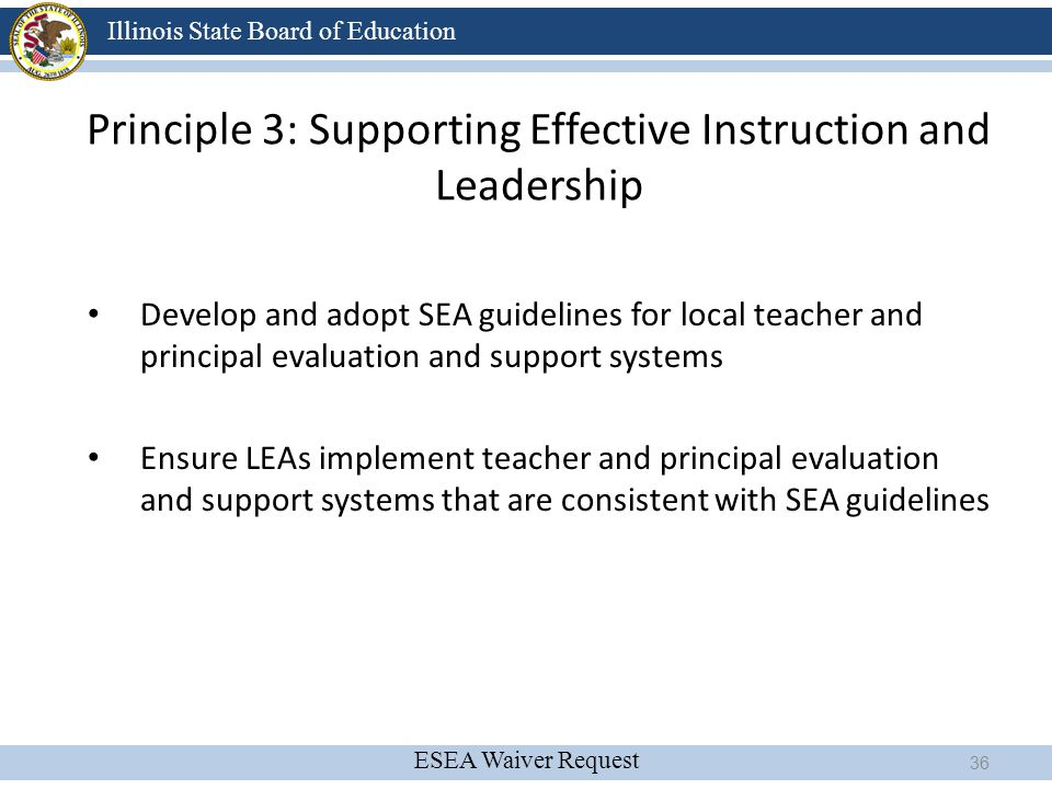 ESEA Waiver Request Illinois State Board of Education Principle 3: Supporting Effective Instruction and Leadership Develop and adopt SEA guidelines fo