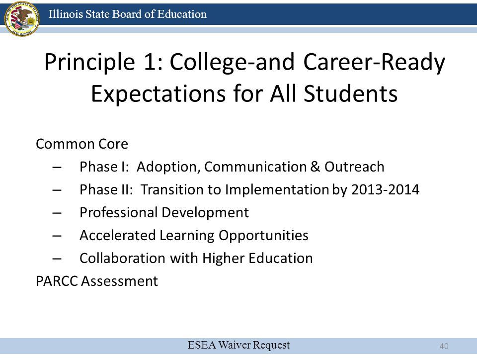 ESEA Waiver Request Illinois State Board of Education Principle 1: College-and Career-Ready Expectations for All Students Common Core – Phase I: Adopt