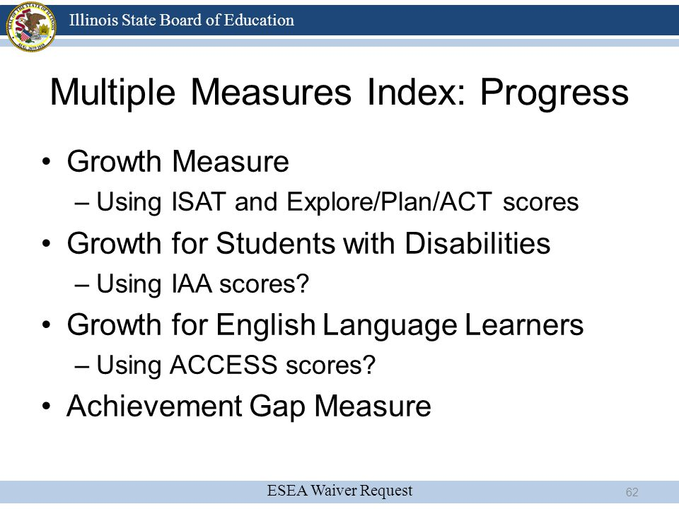 ESEA Waiver Request Illinois State Board of Education Multiple Measures Index: Progress Growth Measure –Using ISAT and Explore/Plan/ACT scores Growth