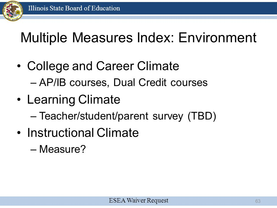 ESEA Waiver Request Illinois State Board of Education Multiple Measures Index: Environment College and Career Climate –AP/IB courses, Dual Credit cour