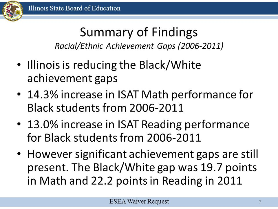 ESEA Waiver Request Illinois State Board of Education Proposed Accountability System Strive for College & Career Readiness Use a Value Table Growth Model Carefully constructed Multiple Measures Index More appropriate Annual Measurable Objectives (Targets) Include Achievement Gap Measure 68